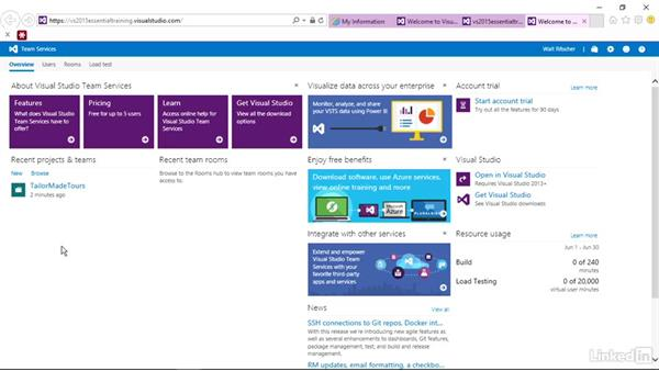 Create another team project: Visual Studio 2015 Essentials 10: Protecting Your Code Base with Source Control Providers