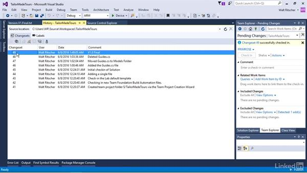 Use a label to indicate versions: Visual Studio 2015 Essentials 10: Protecting Your Code Base with Source Control Providers