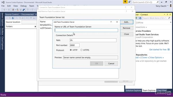 Connect another user to Team Services: Visual Studio 2015 Essentials 10: Protecting Your Code Base with Source Control Providers