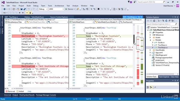 Use the diff tool to compare folders: Visual Studio 2015 Essentials 10: Protecting Your Code Base with Source Control Providers