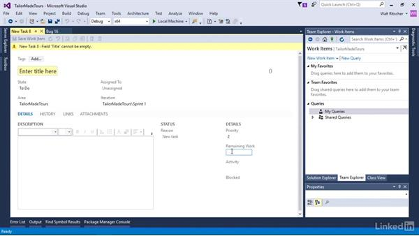Add tasks with a work item: Visual Studio 2015 Essentials 10: Protecting Your Code Base with Source Control Providers
