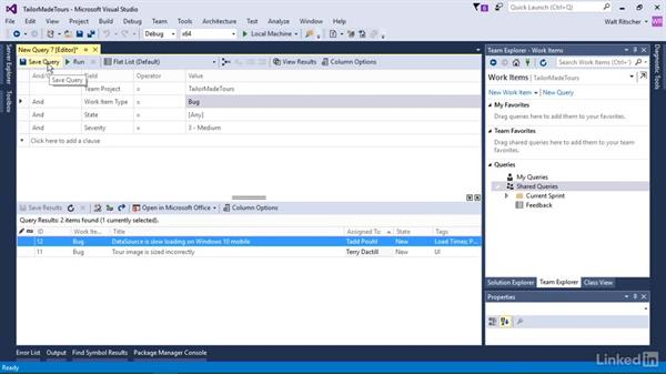 Query work items: Visual Studio 2015 Essentials 10: Protecting Your Code Base with Source Control Providers
