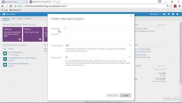 Create a Git-based team project on Team Services: Visual Studio 2015 Essentials 10: Protecting Your Code Base with Source Control Providers