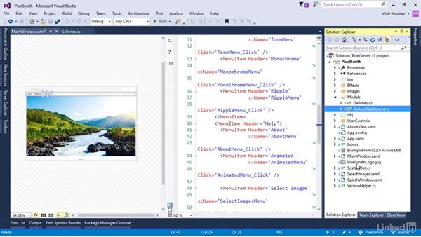 Work with files in a local repository: Visual Studio 2015 Essentials 10: Protecting Your Code Base with Source Control Providers