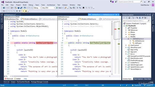 Use history and diff tools to explore changes: Visual Studio 2015 Essentials 10: Protecting Your Code Base with Source Control Providers