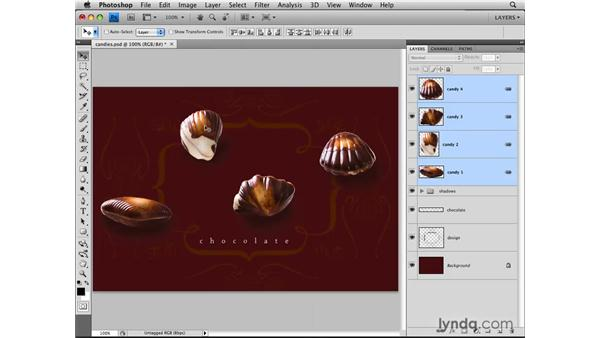 Aligning with the Move tool options: Photoshop CS4: Layers in Depth