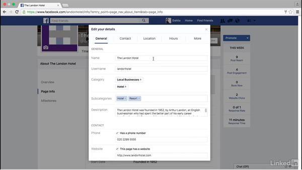 Add information to a Facebook page: Facebook for Business