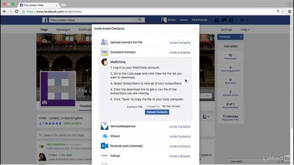 Invite email contacts to like your Facebook page: Facebook for Business