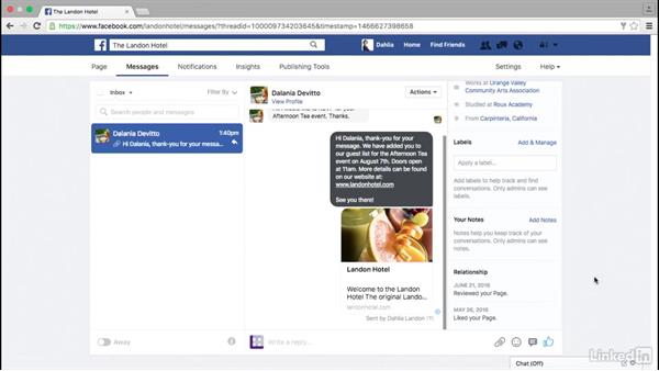 Messaging on your Facebook page: Facebook for Business