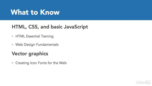 What to know before watching this course: Web Icons with SVG