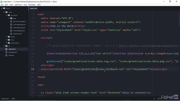 Display Grunticon SVG icons in HTML documents: Web Icons with SVG