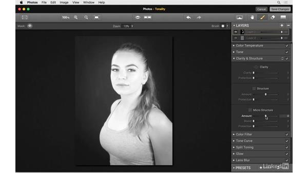 Create a black-and-white portrait: Photos for OS X: Extensions for Local Adjustments