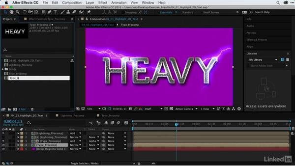 Adding highlights to 2D text: After Effects Guru: Using Generator Effects