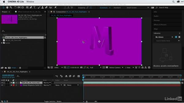 Creating highlights on 3D text: After Effects Guru: Using Generator Effects