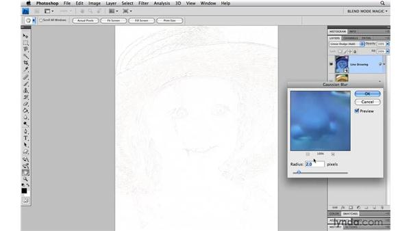 Creating a faint soft-edged line drawing with Linear Dodge: Photoshop Blend Mode Magic