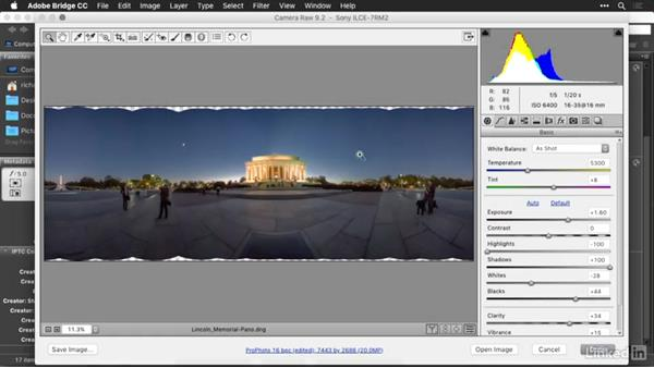 Merging a panorama in Adobe Camera Raw
