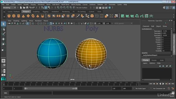 The differences between NURBS and polygons: Maya 2017 Essential Training