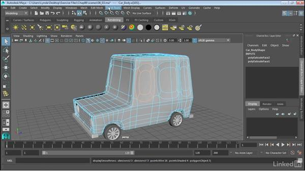 Create creases in smooth surfaces: Maya 2017 Essential Training