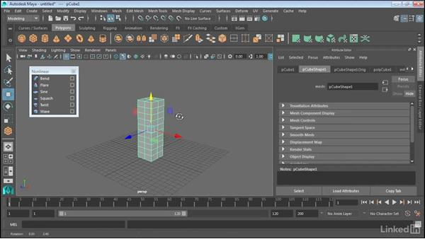 Model with non-linear deformers: Maya 2017 Essential Training
