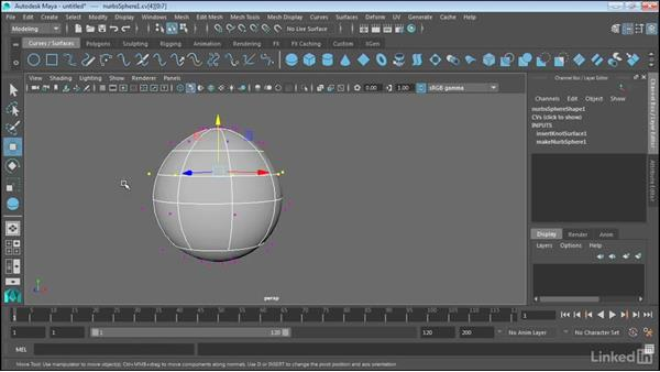 Use isoparms to refine NURBS surfaces: Maya 2017 Essential Training