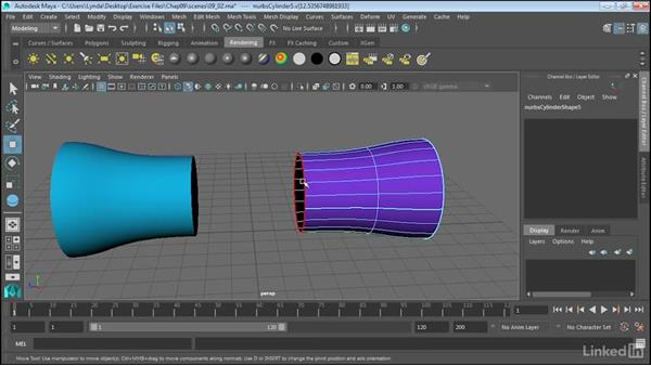Extract NURBS curves from surfaces: Maya 2017 Essential Training