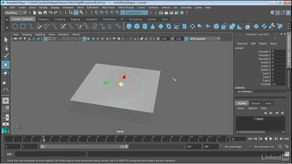Create curves on a surface: Maya 2017 Essential Training