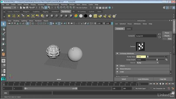 Use displacement and bump mapping: Maya 2017 Essential Training