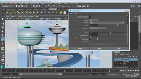 Animation playback using Playblast: Maya 2017 Essential Training