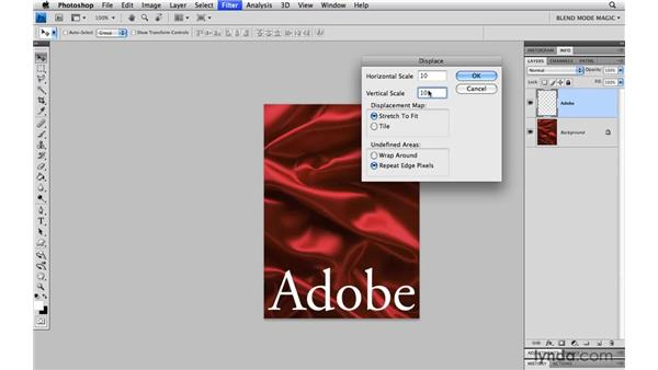 Displacing type around contours: Photoshop Blend Mode Magic