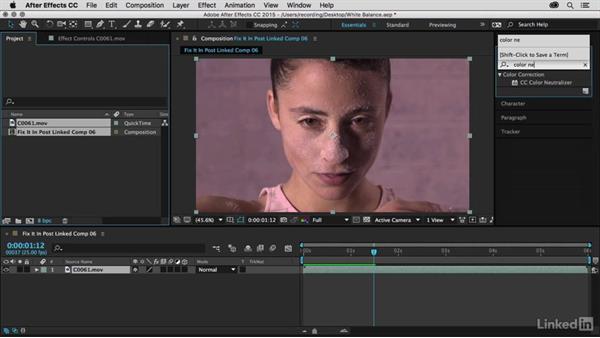 Neutralize the shot with CC Color Neutralizer: Premiere Pro Guru: Fix It in Post