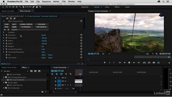 Work faster with BCC Lens Correction: Premiere Pro Guru: Fix It in Post