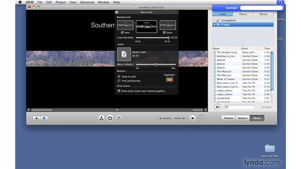 Adding music to a menu: iDVD '09 Essential Training
