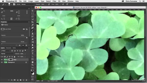 Paint on the layer mask: Design the Web: Creating a Repeating Background in Photoshop