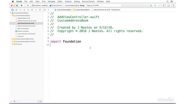 Creating a view controller object: iOS Address Book App: Hands On