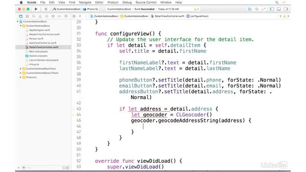 Using MapKit to display the address: iOS Address Book App: Hands On