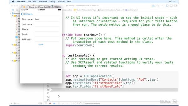 Writing tests for the app interface: iOS Address Book App: Hands On