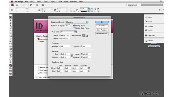 Setting up the document: Designing a Magazine Layout