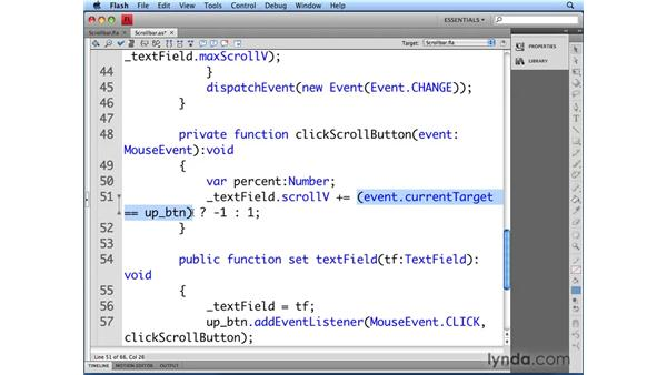 Using buttons for scrolling: Flash CS4 Professional: Building UI Elements