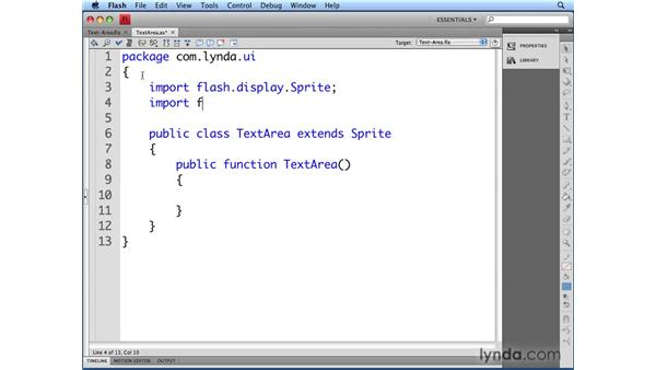 Defining the TextArea class: Flash CS4 Professional: Building UI Elements