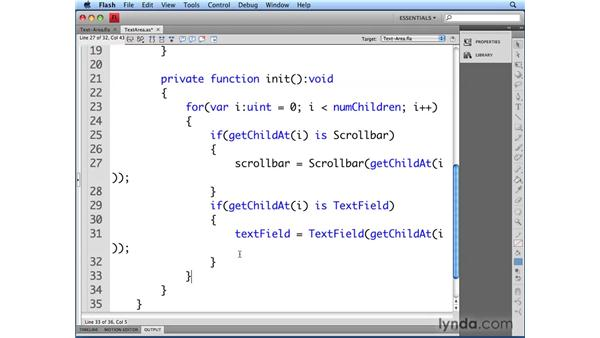 Initializing the text area: Flash CS4 Professional: Building UI Elements