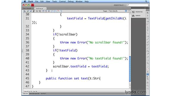 Setting text in the text area: Flash CS4 Professional: Building UI Elements