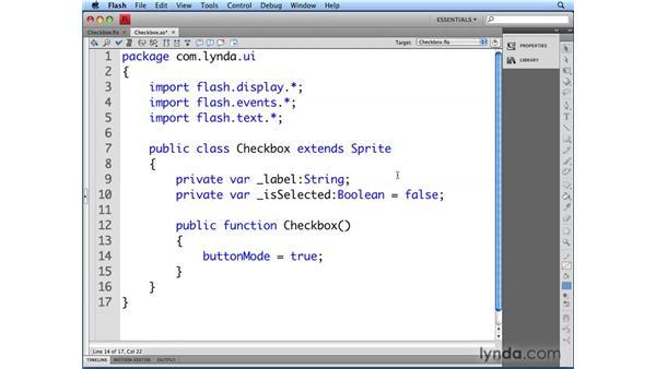 Defining the Checkbox class: Flash CS4 Professional: Building UI Elements