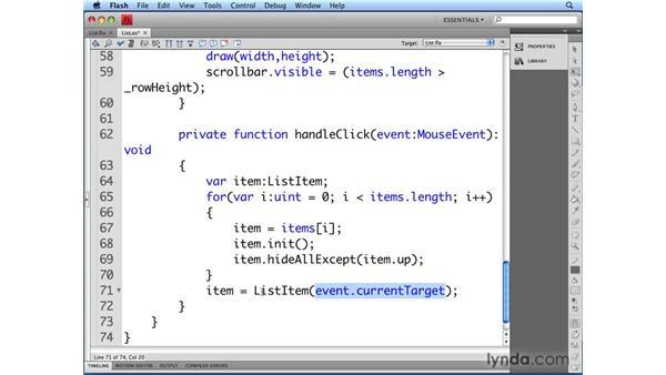 Selecting list items: Flash CS4 Professional: Building UI Elements