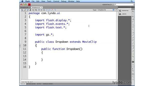 Creating the Dropdown class: Flash CS4 Professional: Building UI Elements