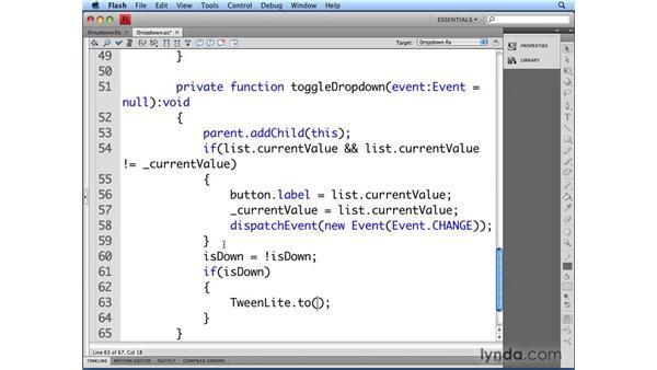 Finishing the Dropdown class: Flash CS4 Professional: Building UI Elements