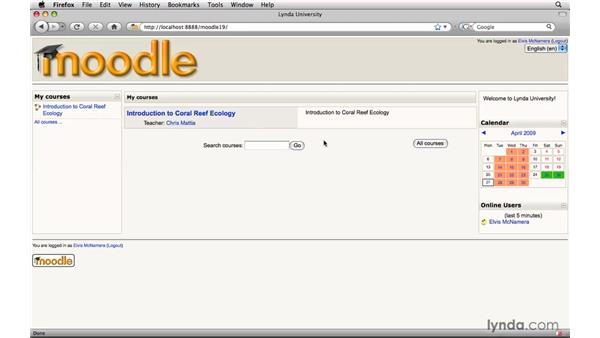 Login overview: Moodle 1.9 Essential Training for Students
