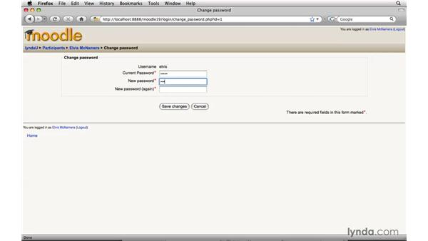 Changing the password: Moodle 1.9 Essential Training for Students