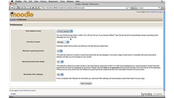Managing the Calendar: Moodle 1.9 Essential Training for Students