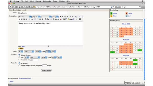 Adding Calendar events: Moodle 1.9 Essential Training for Students