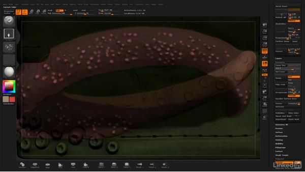 Use Colorized Spray to add more stippled texture: ZBrush: Polypaint
